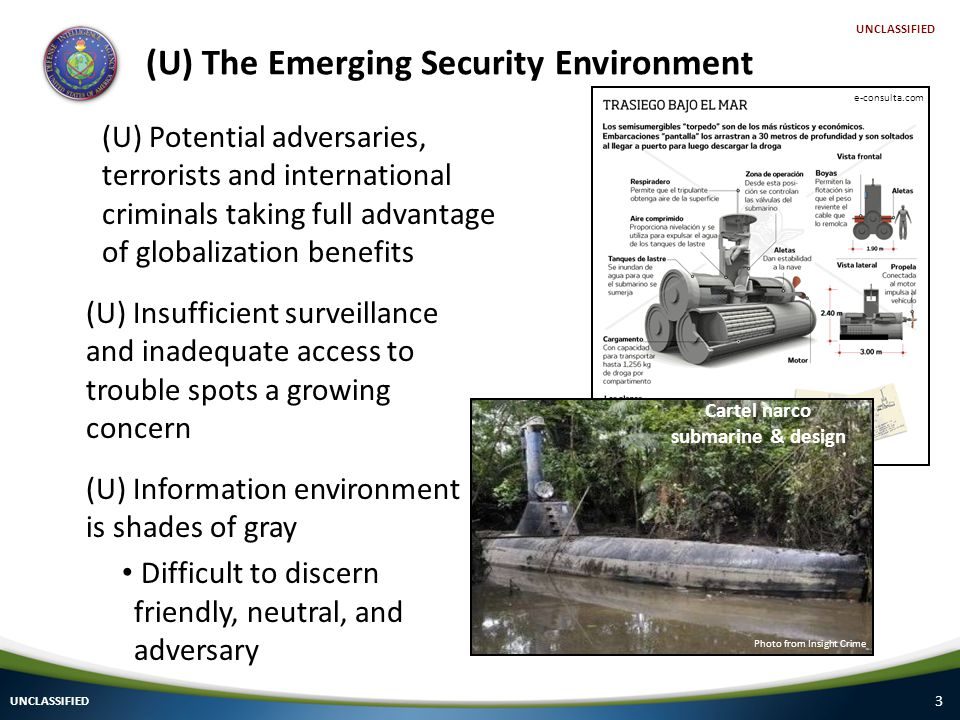 3 (U) The Emerging Security Environment UNCLASSIFIED (U) Potential adversaries, terrorists and international criminals taking full advantage of globalization benefits (U) Insufficient surveillance and inadequate access to trouble spots a growing concern (U) Information environment is shades of gray Difficult to discern friendly, neutral, and adversary Photo from Insight Crime e-consulta.com Cartel narco submarine & design