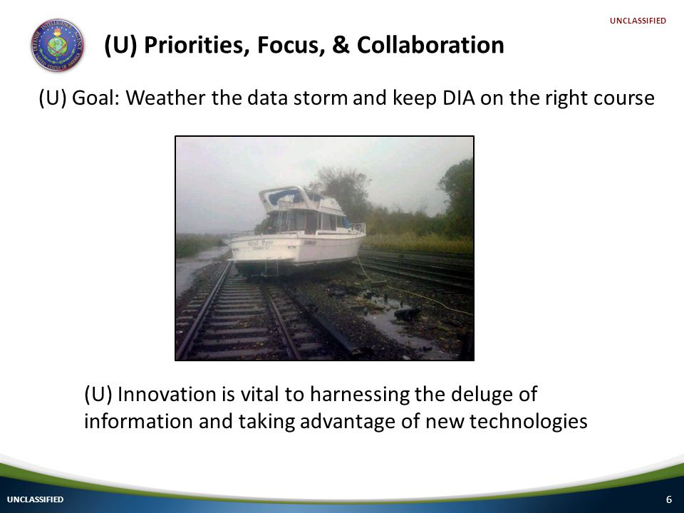 6 (U) Priorities, Focus, & Collaboration UNCLASSIFIED (U) Innovation is vital to harnessing the deluge of information and taking advantage of new technologies (U) Goal: Weather the data storm and keep DIA on the right course