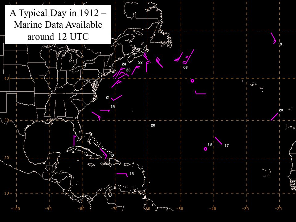 A Typical Day in 1912 – Marine Data Available around 12 UTC