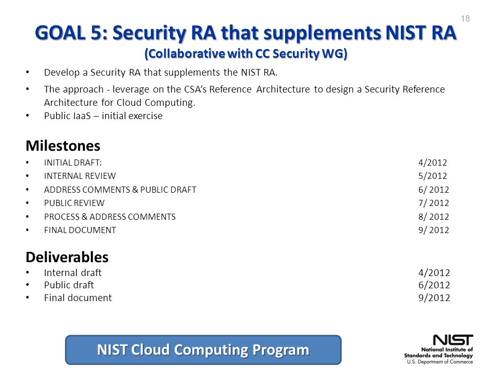 NIST Cloud Computing Program GOAL 5: Security RA that supplements NIST RA (Collaborative with CC Security WG) Develop a Security RA that supplements the NIST RA.