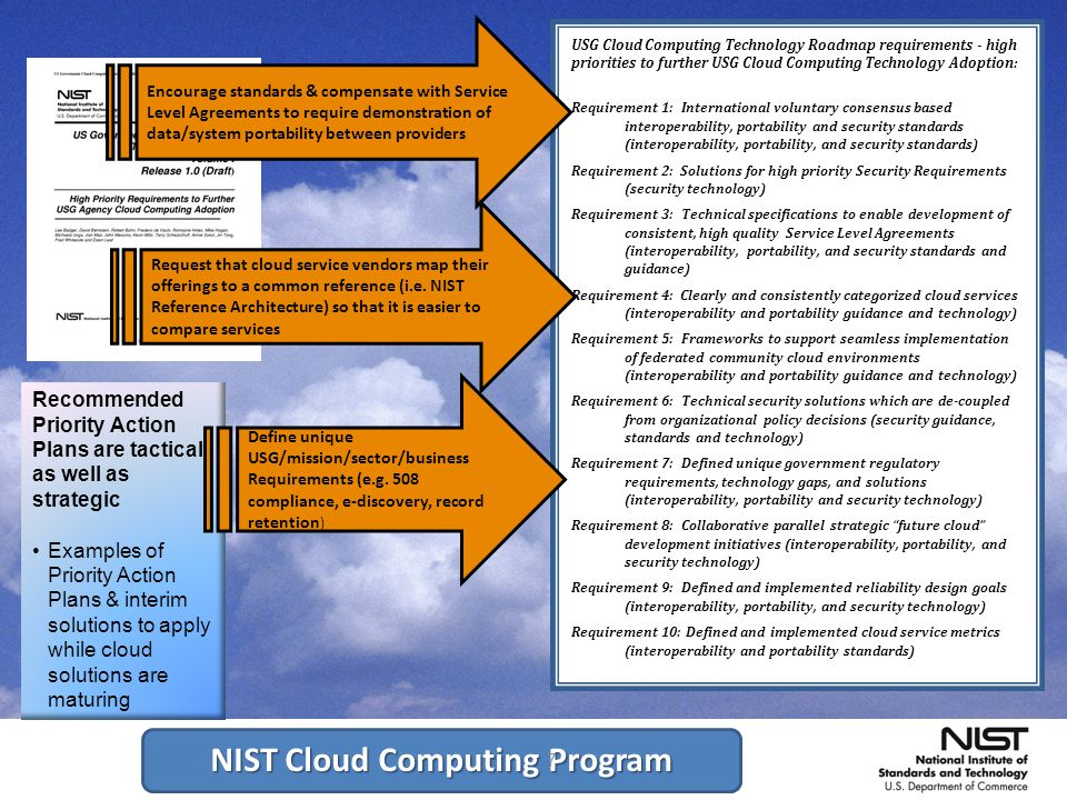 NIST Cloud Computing Program 7 7 Recommended Priority Action Plans are tactical as well as strategic Examples of Priority Action Plans & interim solutions to apply while cloud solutions are maturing USG Cloud Computing Technology Roadmap requirements - high priorities to further USG Cloud Computing Technology Adoption: Requirement 1: International voluntary consensus based interoperability, portability and security standards (interoperability, portability, and security standards) Requirement 2: Solutions for high priority Security Requirements (security technology) Requirement 3: Technical specifications to enable development of consistent, high quality Service Level Agreements (interoperability, portability, and security standards and guidance) Requirement 4: Clearly and consistently categorized cloud services (interoperability and portability guidance and technology) Requirement 5: Frameworks to support seamless implementation of federated community cloud environments (interoperability and portability guidance and technology) Requirement 6: Technical security solutions which are de-coupled from organizational policy decisions (security guidance, standards and technology) Requirement 7: Defined unique government regulatory requirements, technology gaps, and solutions (interoperability, portability and security technology) Requirement 8: Collaborative parallel strategic future cloud development initiatives (interoperability, portability, and security technology) Requirement 9: Defined and implemented reliability design goals (interoperability, portability, and security technology) Requirement 10: Defined and implemented cloud service metrics (interoperability and portability standards) Encourage standards & compensate with Service Level Agreements to require demonstration of data/system portability between providers Request that cloud service vendors map their offerings to a common reference (i.e.