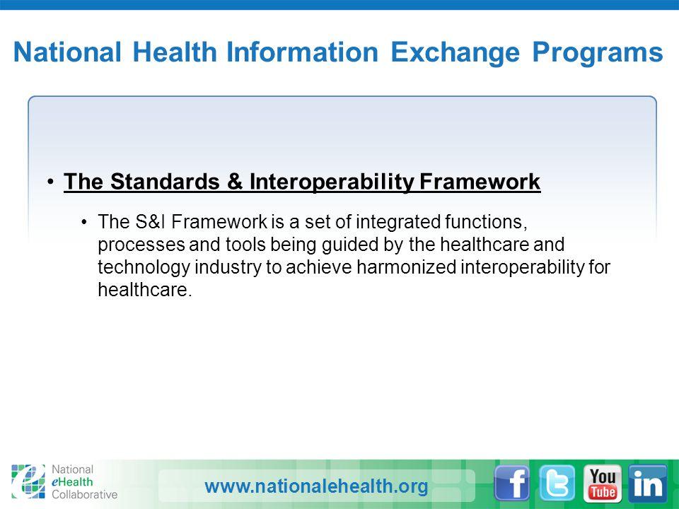 www.nationalehealth.org National Health Information Exchange Programs The Standards & Interoperability Framework The S&I Framework is a set of integra