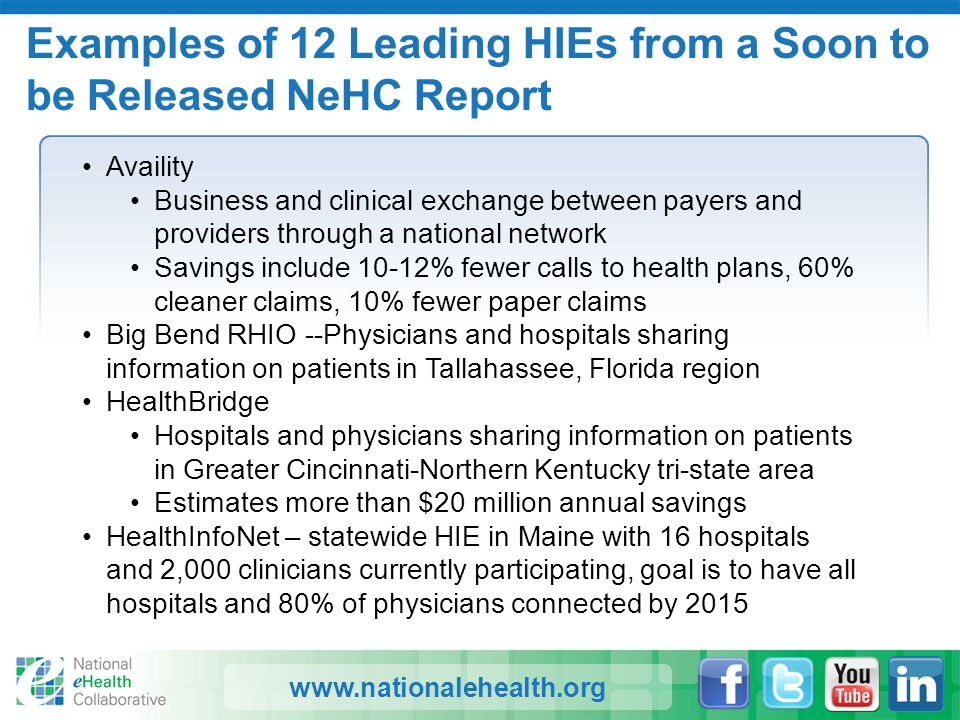 www.nationalehealth.org Examples of 12 Leading HIEs from a Soon to be Released NeHC Report Availity Business and clinical exchange between payers and