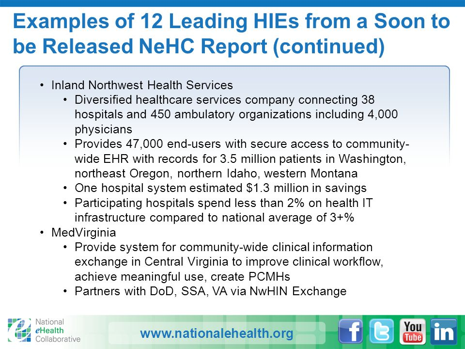 www.nationalehealth.org Examples of 12 Leading HIEs from a Soon to be Released NeHC Report (continued) Inland Northwest Health Services Diversified he