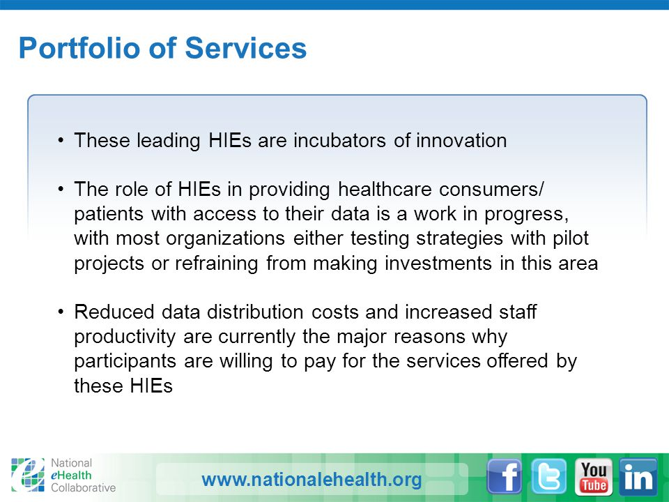 www.nationalehealth.org Portfolio of Services These leading HIEs are incubators of innovation The role of HIEs in providing healthcare consumers/ pati