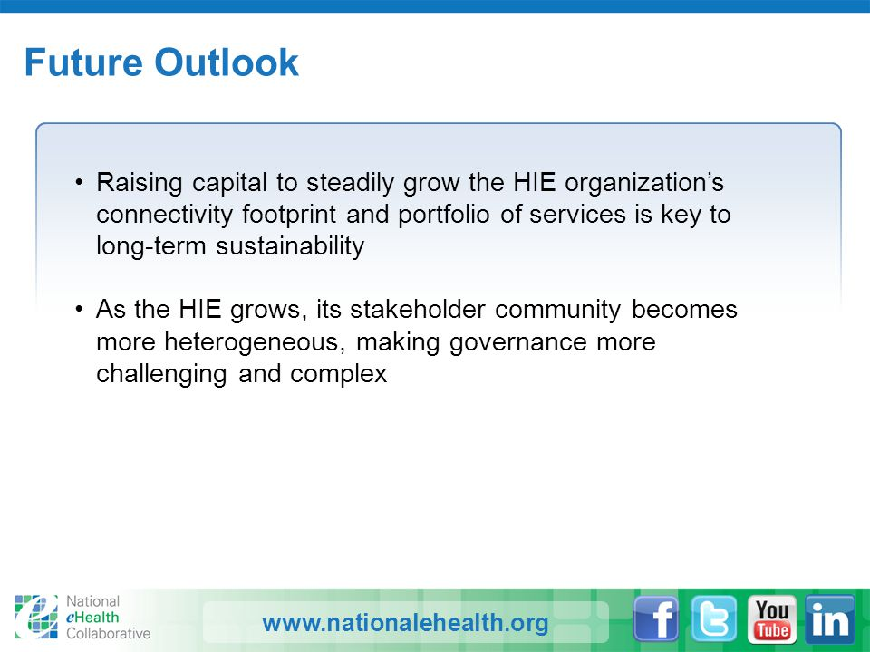 www.nationalehealth.org Future Outlook Raising capital to steadily grow the HIE organization's connectivity footprint and portfolio of services is key