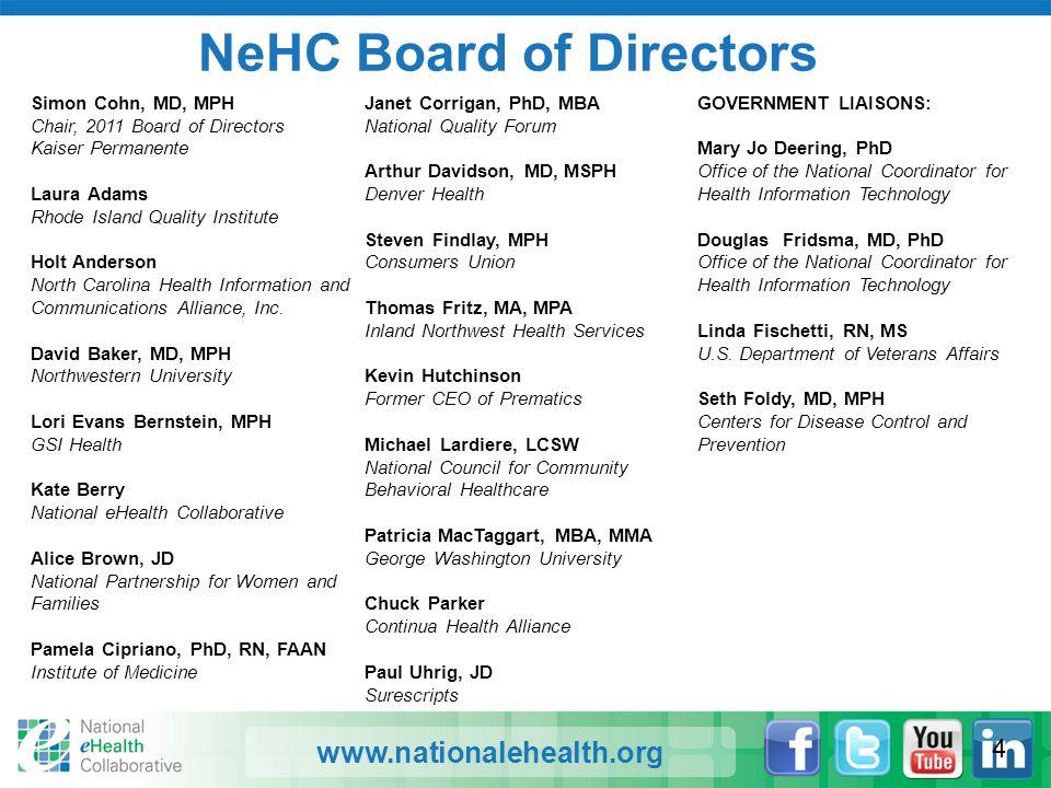 www.nationalehealth.org NeHC Board of Directors Simon Cohn, MD, MPH Chair, 2011 Board of Directors Kaiser Permanente Laura Adams Rhode Island Quality