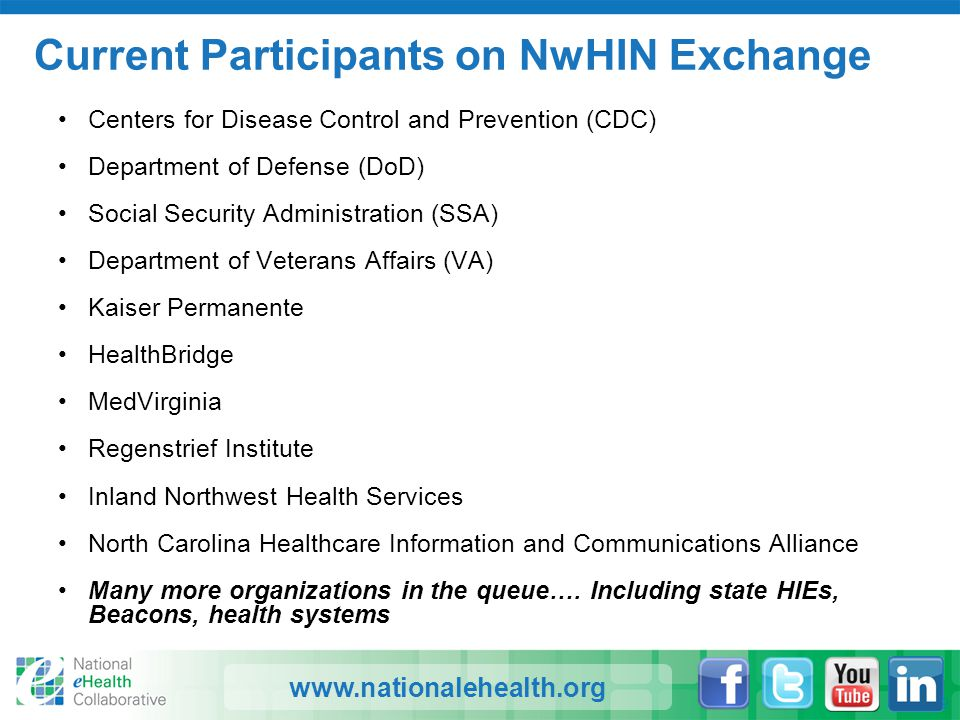 www.nationalehealth.org Current Participants on NwHIN Exchange Centers for Disease Control and Prevention (CDC) Department of Defense (DoD) Social Sec