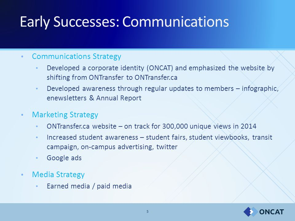 5 Early Successes: Communications Communications Strategy Developed a corporate identity (ONCAT) and emphasized the website by shifting from ONTransfer to ONTransfer.ca Developed awareness through regular updates to members – infographic, enewsletters & Annual Report Marketing Strategy ONTransfer.ca website – on track for 300,000 unique views in 2014 Increased student awareness – student fairs, student viewbooks, transit campaign, on-campus advertising, twitter Google ads Media Strategy Earned media / paid media