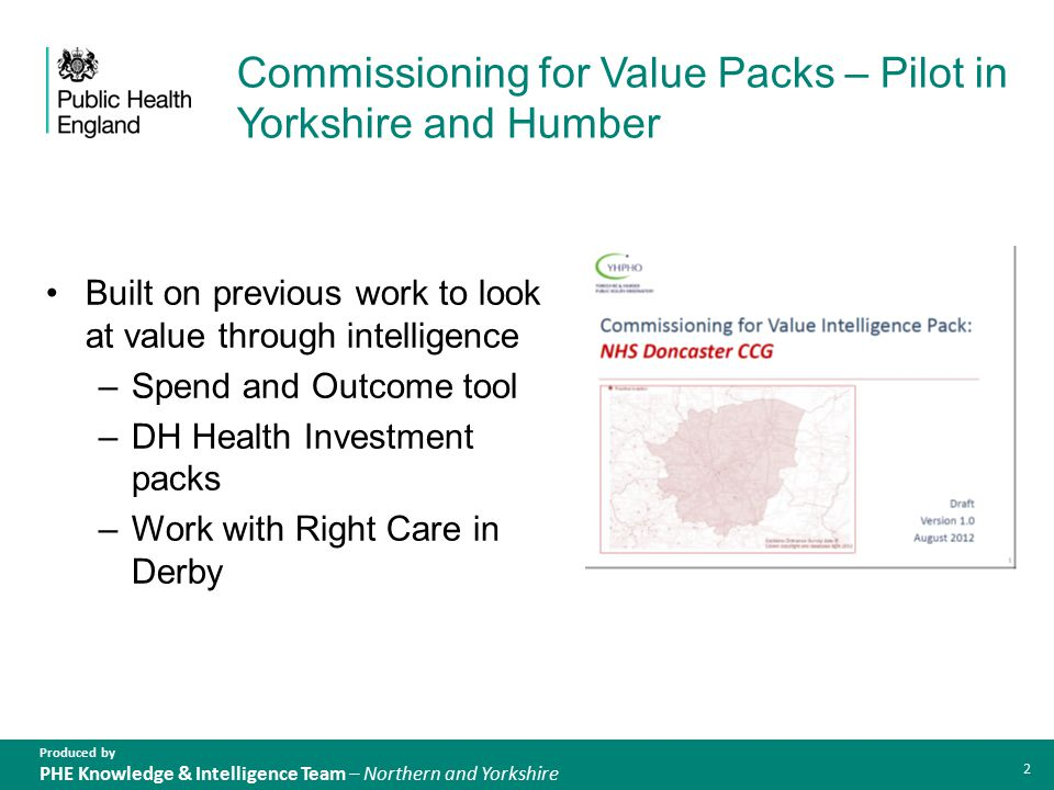 Produced by PHE Knowledge & Intelligence Team – Northern and Yorkshire Our approach Looked at indicators of spend, outcome and quality across all programmes of care and identified priority programmes Encouraged emergent CCGs to Sense check Compare with existing plans and priorities Think about the whole picture Take an intelligence driven approach 3