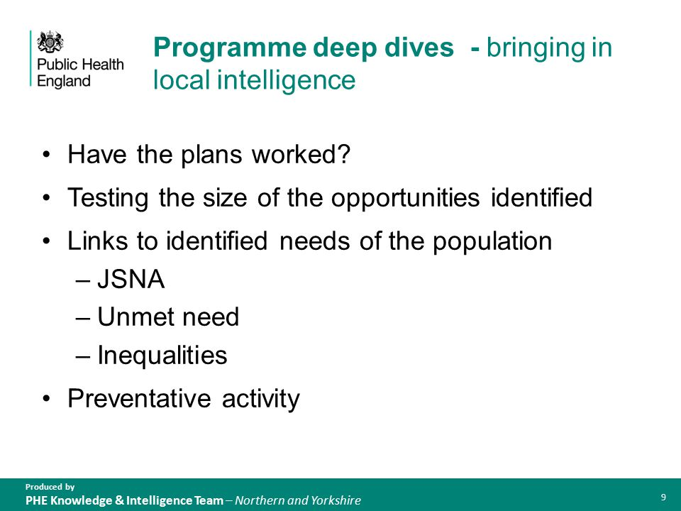 Produced by PHE Knowledge & Intelligence Team – Northern and Yorkshire Programme deep dives - bringing in local intelligence Have the plans worked.
