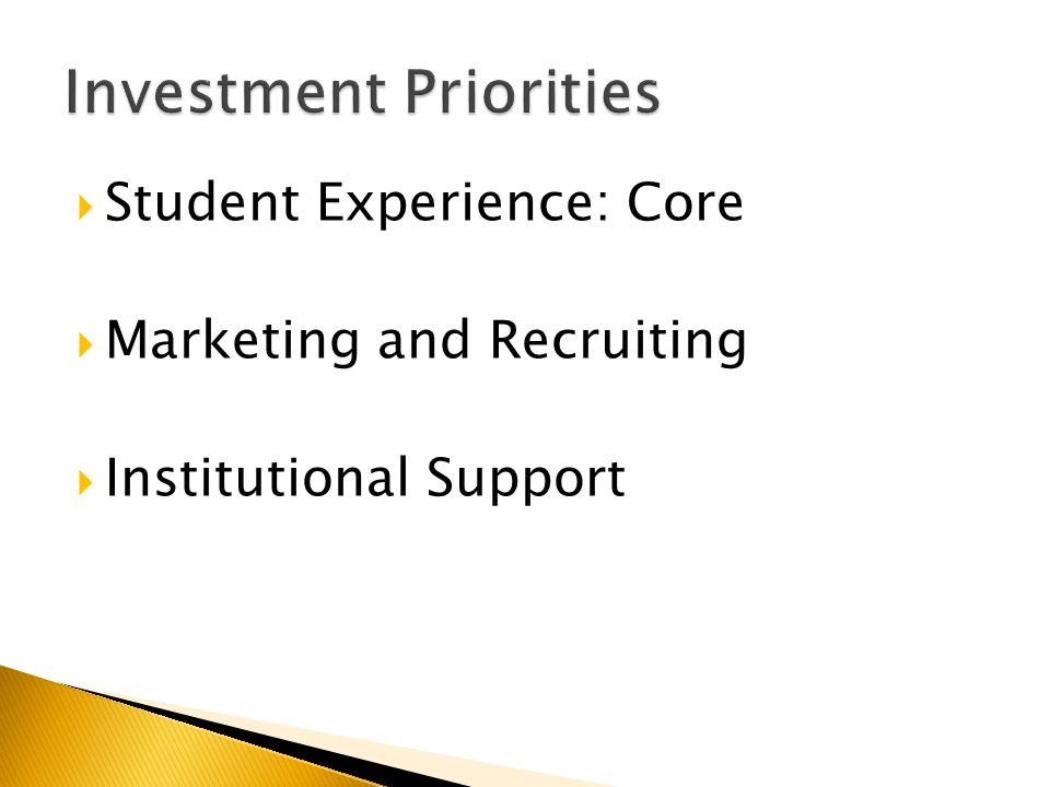  Student Experience: Core  Marketing and Recruiting  Institutional Support