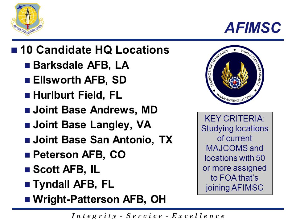 AFIMSC 10 Candidate HQ Locations Barksdale AFB, LA Ellsworth AFB, SD Hurlburt Field, FL Joint Base Andrews, MD Joint Base Langley, VA Joint Base San A