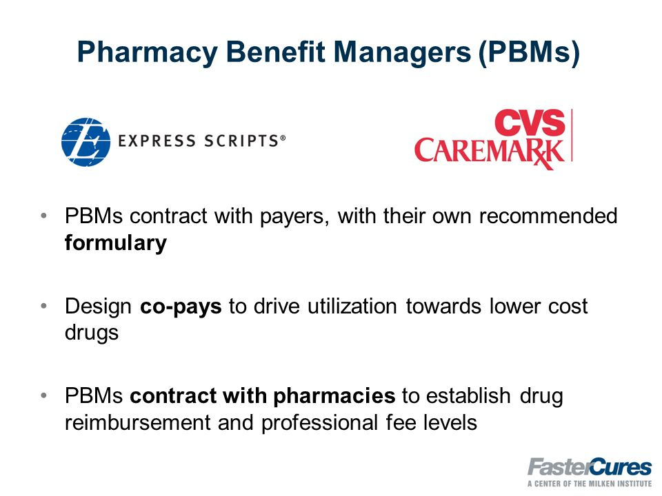 Pharmacy Benefit Managers (PBMs) PBMs contract with payers, with their own recommended formulary Design co-pays to drive utilization towards lower cost drugs PBMs contract with pharmacies to establish drug reimbursement and professional fee levels