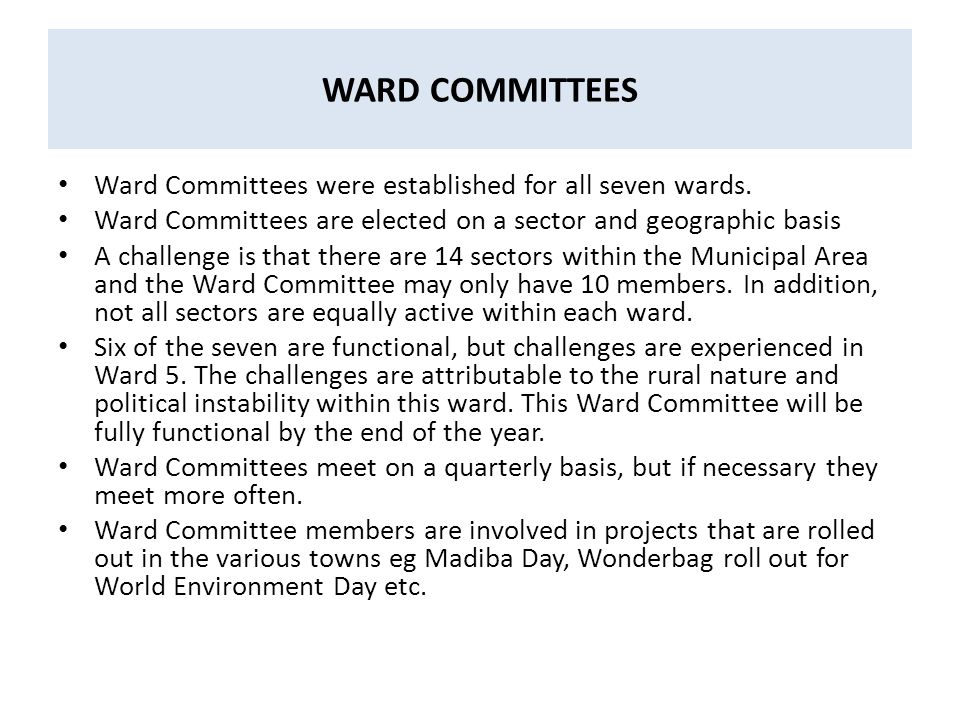 WARD COMMITTEES Ward Committees were established for all seven wards.