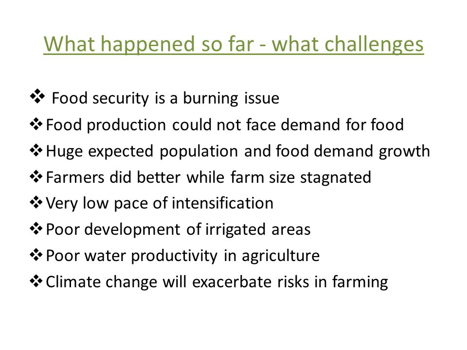 What happened so far - what challenges  Food security is a burning issue  Food production could not face demand for food  Huge expected population