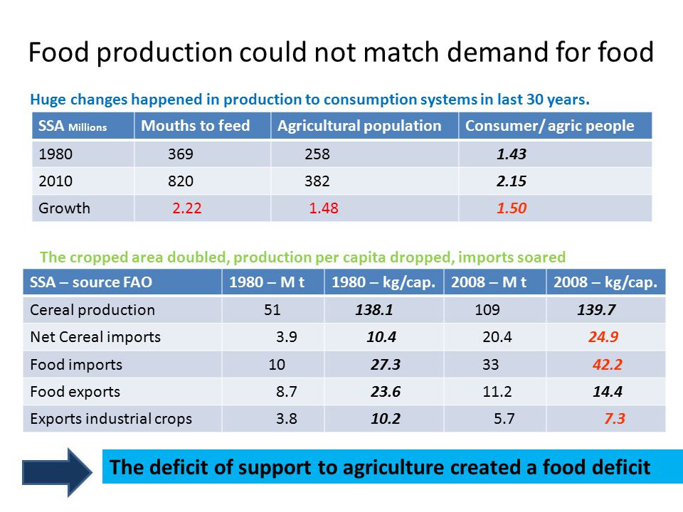 Population and Food demand growth An Exposure For the next 30 years SSA - millionsMouth to feedAgricultural population Consumer/agric.