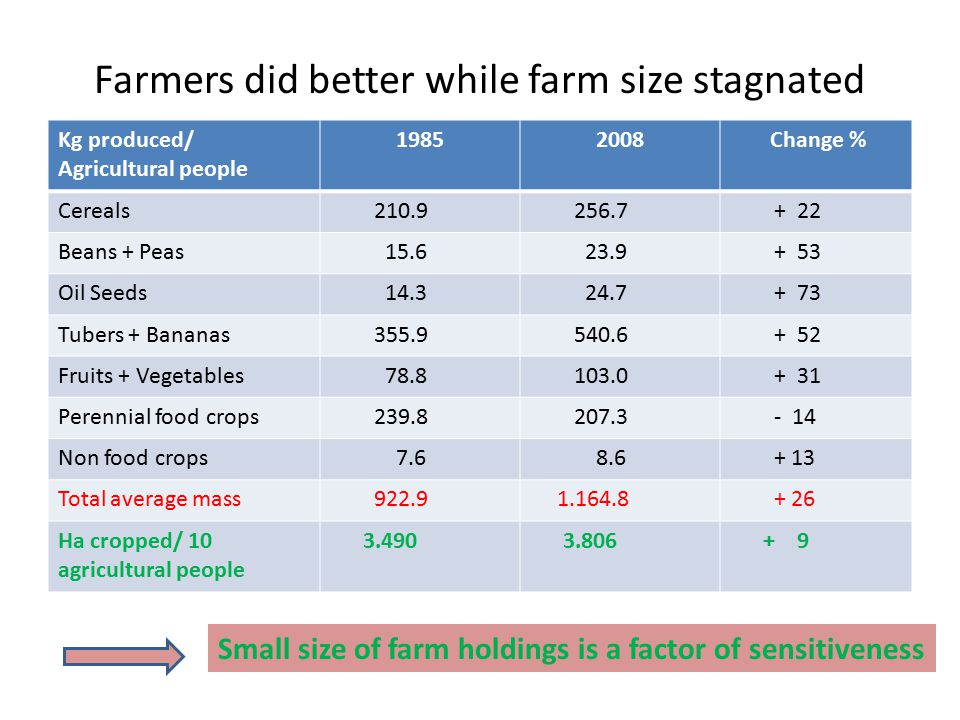 Farmers did better while farm size stagnated Kg produced/ Agricultural people 19852008 Change % Cereals 210.9 256.7 + 22 Beans + Peas 15.6 23.9 + 53 O
