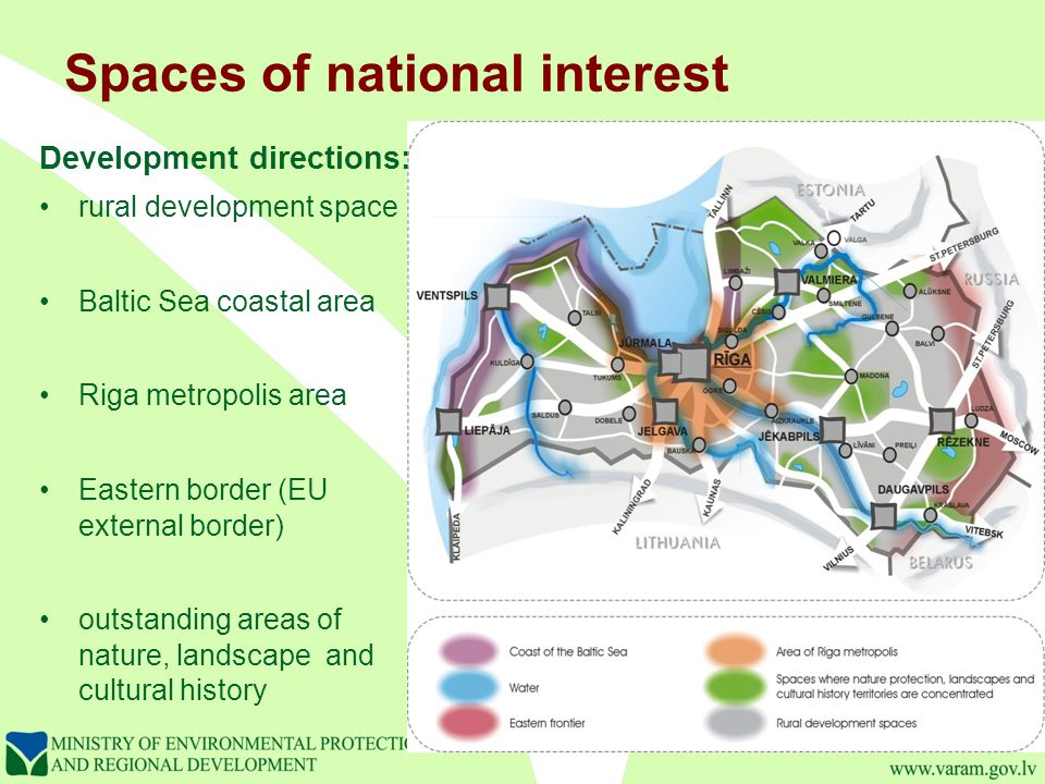 Spaces of national interest Development directions: rural development space Baltic Sea coastal area Riga metropolis area Eastern border (EU external border) outstanding areas of nature, landscape and cultural history