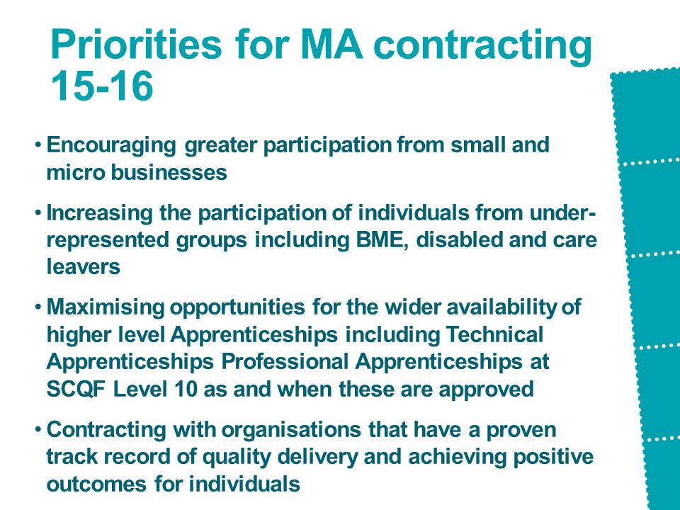 Priorities for MA contracting 15-16 Encouraging greater participation from small and micro businesses Increasing the participation of individuals from under- represented groups including BME, disabled and care leavers Maximising opportunities for the wider availability of higher level Apprenticeships including Technical Apprenticeships Professional Apprenticeships at SCQF Level 10 as and when these are approved Contracting with organisations that have a proven track record of quality delivery and achieving positive outcomes for individuals