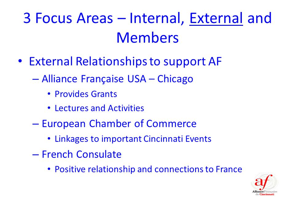 3 Focus Areas – Internal, External and Members External Relationships to support AF – Alliance Française USA – Chicago Provides Grants Lectures and Activities – European Chamber of Commerce Linkages to important Cincinnati Events – French Consulate Positive relationship and connections to France