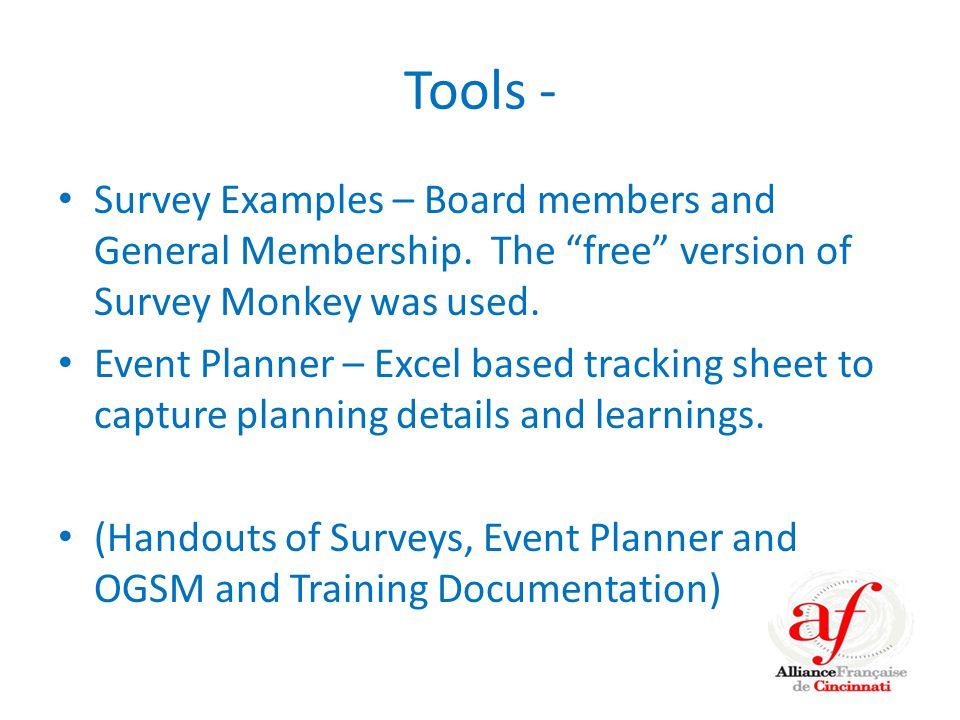 Tools - Survey Examples – Board members and General Membership.
