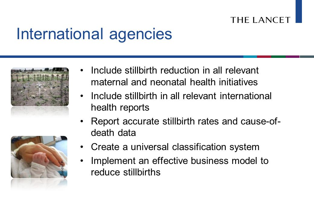 International agencies Include stillbirth reduction in all relevant maternal and neonatal health initiatives Include stillbirth in all relevant international health reports Report accurate stillbirth rates and cause-of- death data Create a universal classification system Implement an effective business model to reduce stillbirths Sands UK Giovanni Presutti CiaoLapo