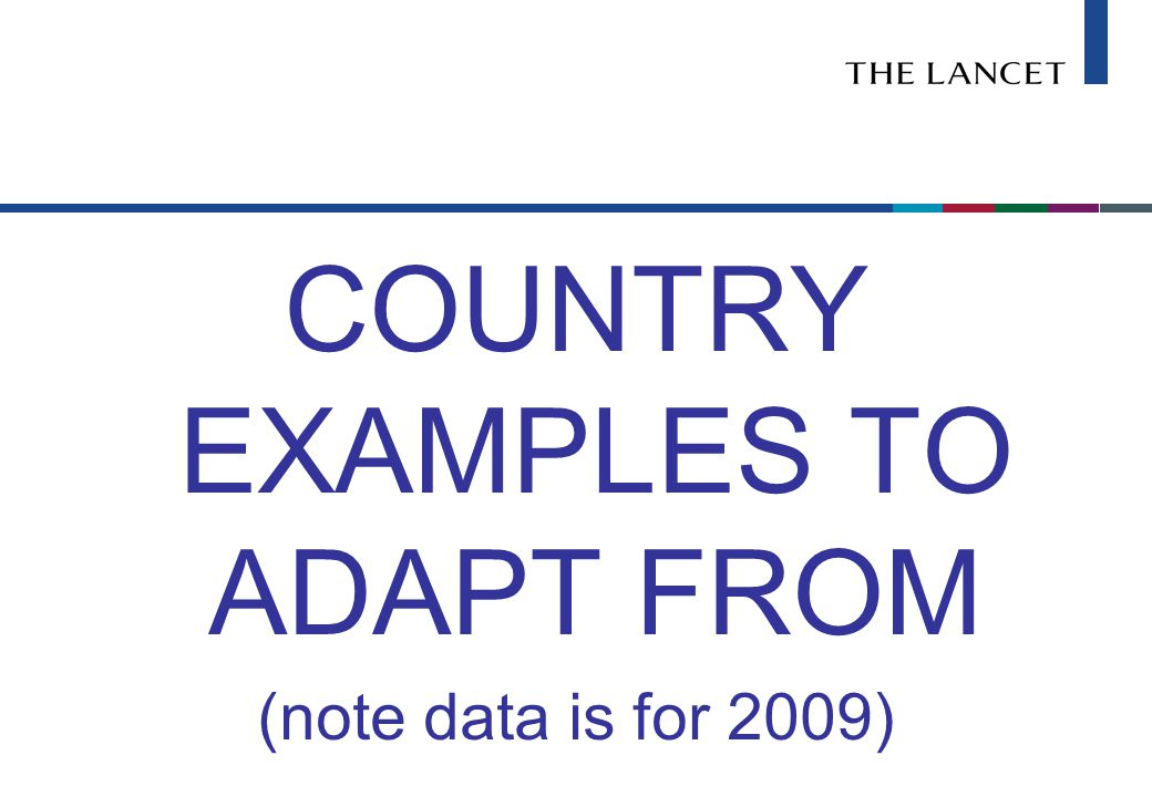 COUNTRY EXAMPLES TO ADAPT FROM (note data is for 2009)