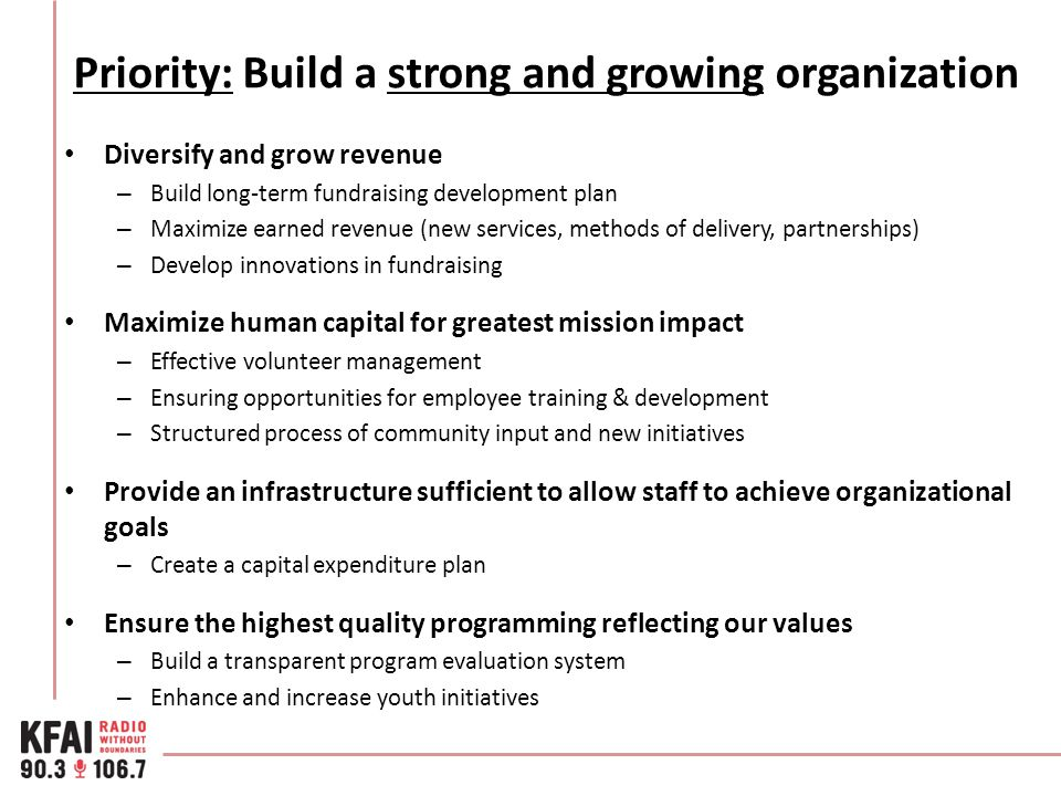 Priority: Build a strong and growing organization Diversify and grow revenue – Build long-term fundraising development plan – Maximize earned revenue