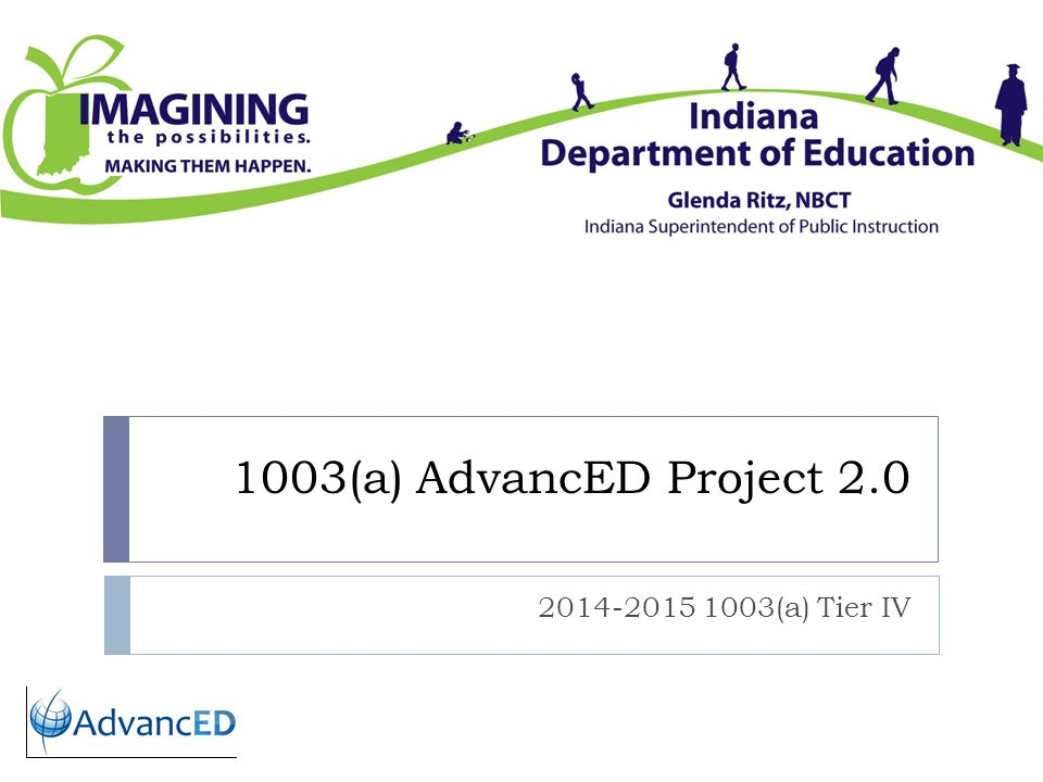 1003(a) AdvancED Project 2.0 2014-2015 1003(a) Tier IV
