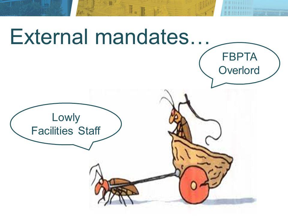 External mandates… FBPTA Overlord Lowly Facilities Staff