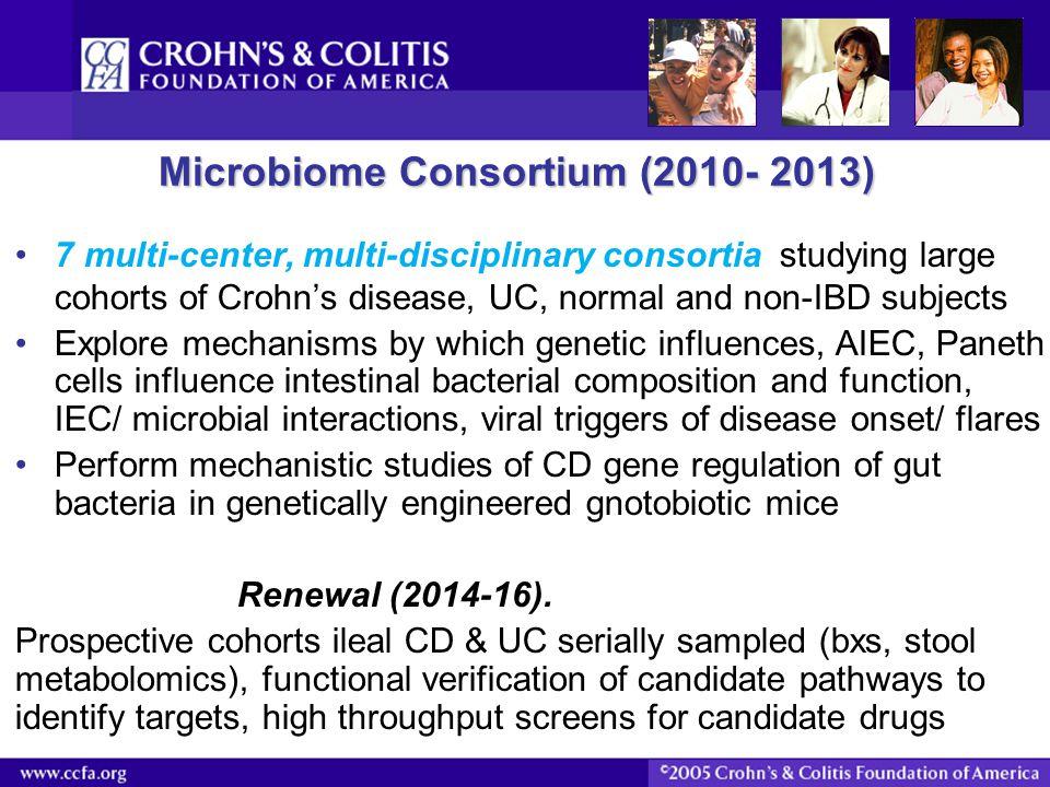 Microbiome Consortium (2010- 2013) 7 multi-center, multi-disciplinary consortia studying large cohorts of Crohn's disease, UC, normal and non-IBD subj