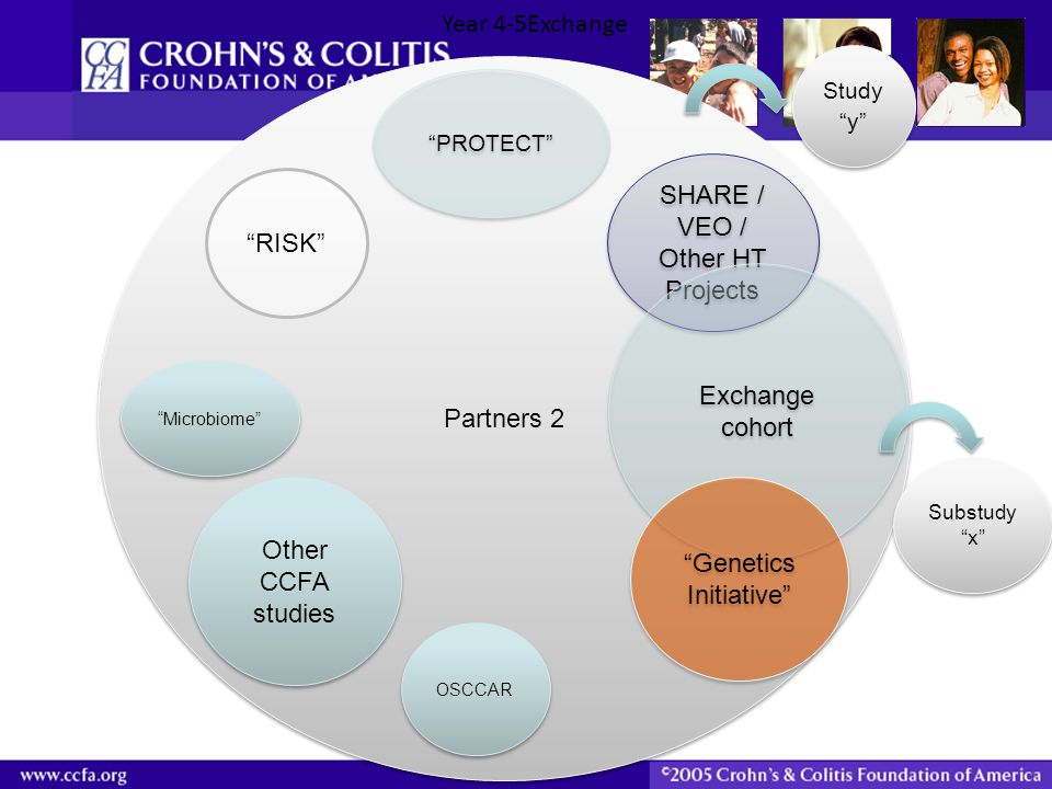 """Partners 2 SHARE / VEO / Other HT Projects Exchange cohort """"Genetics Initiative"""" """"Genetics Initiative"""" """"RISK"""" """"PROTECT"""" Substudy """"x"""" Study """"y"""" """"Microb"""
