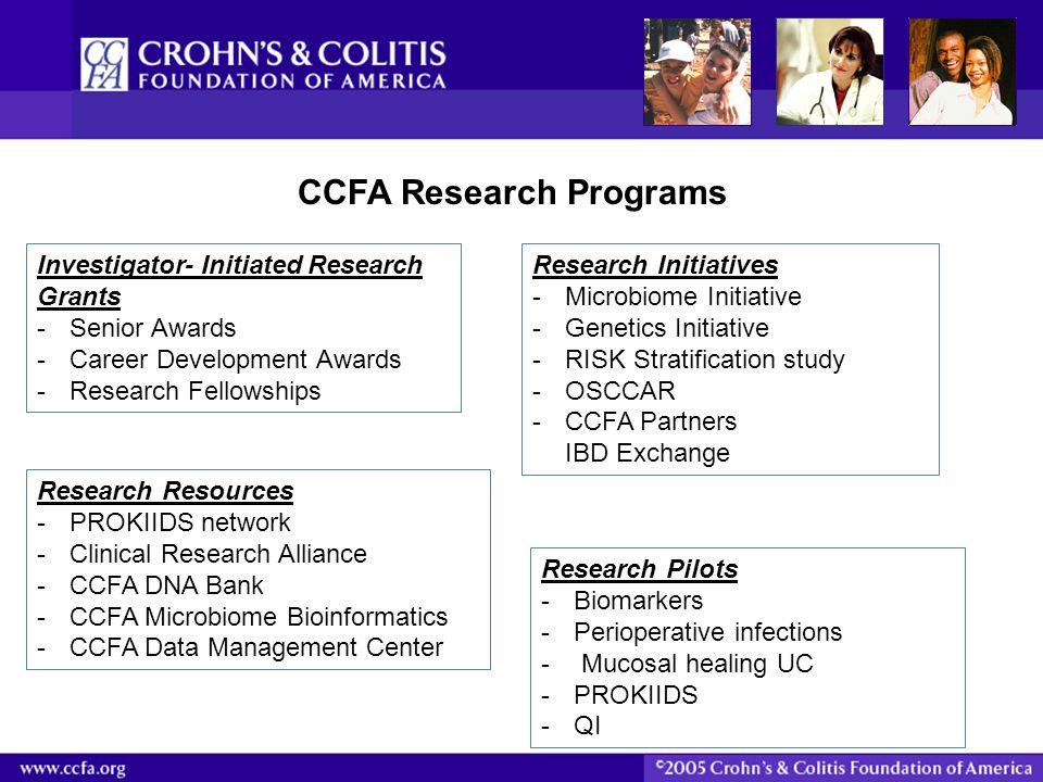 CCFA Research Programs Investigator- Initiated Research Grants -Senior Awards -Career Development Awards -Research Fellowships Research Initiatives -M