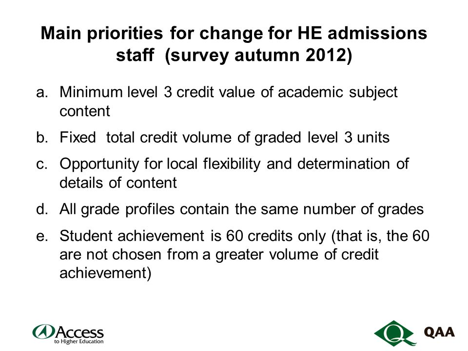 Main priorities for change for HE admissions staff (survey autumn 2012) a.Minimum level 3 credit value of academic subject content b.Fixed total credit volume of graded level 3 units c.Opportunity for local flexibility and determination of details of content d.All grade profiles contain the same number of grades e.Student achievement is 60 credits only (that is, the 60 are not chosen from a greater volume of credit achievement)