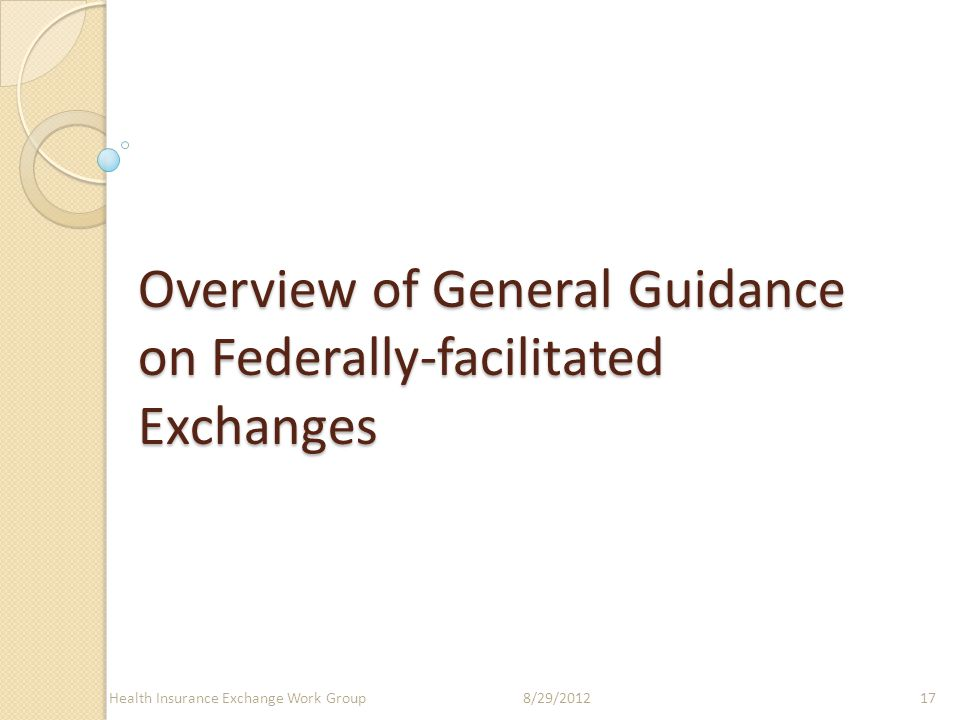 Overview of General Guidance on Federally-facilitated Exchanges 8/29/2012Health Insurance Exchange Work Group17