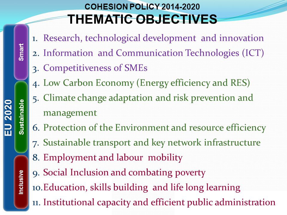 COHESION POLICY 2014-2020 THEMATIC OBJECTIVES 1.Research, technological development and innovation 2.Information and Communication Technologies (ICT)