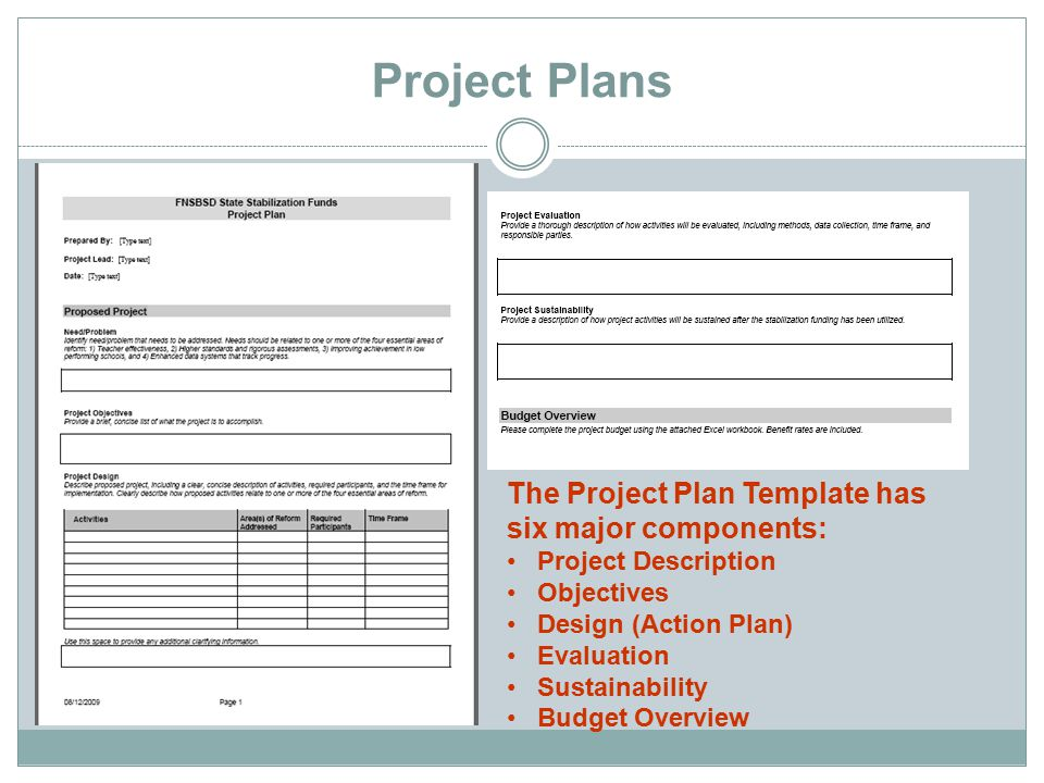 Project Plans The Project Plan Template has six major components: Project Description Objectives Design (Action Plan) Evaluation Sustainability Budget Overview