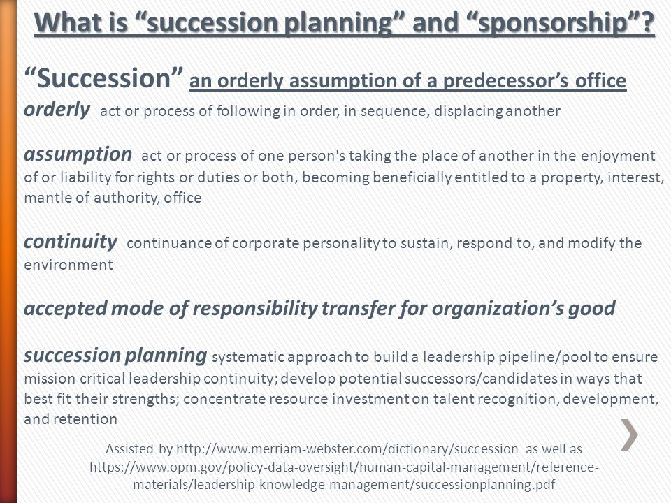 What is succession planning and sponsorship .