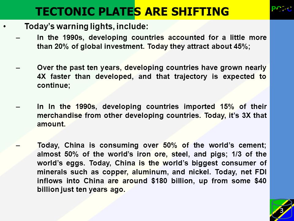 TECTONIC PLATES ARE SHIFTING Today's warning lights, include: –In the 1990s, developing countries accounted for a little more than 20% of global investment.