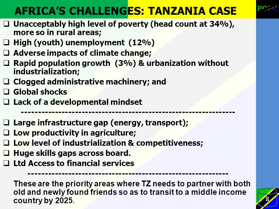 AFRICA'S CHALLENGES: TANZANIA CASE  Unacceptably high level of poverty (head count at 34%), more so in rural areas;  High (youth) unemployment (12%)