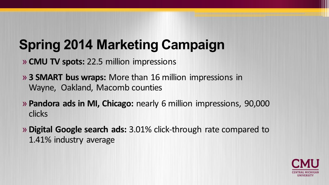 Spring 2014 Marketing Campaign »CMU TV spots: 22.5 million impressions »3 SMART bus wraps: More than 16 million impressions in Wayne, Oakland, Macomb counties »Pandora ads in MI, Chicago: nearly 6 million impressions, 90,000 clicks »Digital Google search ads: 3.01% click-through rate compared to 1.41% industry average
