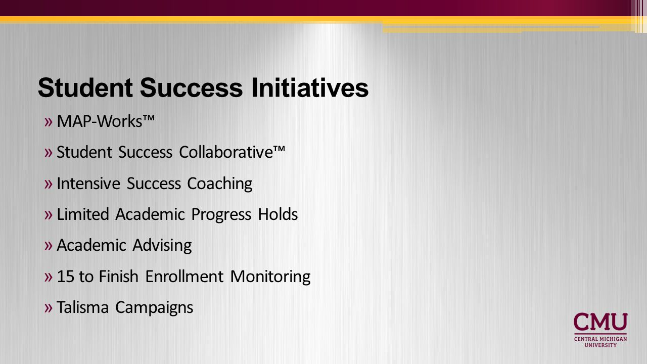 Student Success Initiatives »MAP-Works™ »Student Success Collaborative™ »Intensive Success Coaching »Limited Academic Progress Holds »Academic Advising »15 to Finish Enrollment Monitoring »Talisma Campaigns