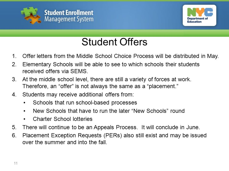 Student Offers 1.Offer letters from the Middle School Choice Process will be distributed in May.