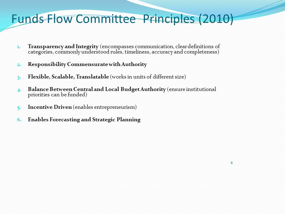 Funds Flow Committee Principles (2010) 1.
