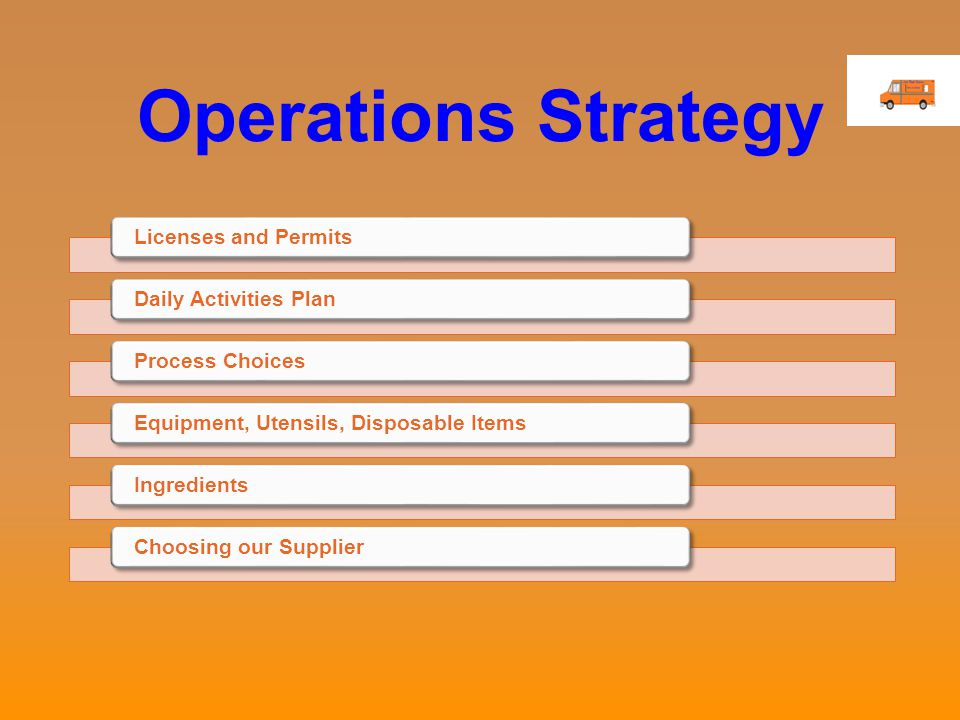 Operations Strategy Licenses and PermitsDaily Activities PlanProcess ChoicesEquipment, Utensils, Disposable ItemsIngredientsChoosing our Supplier