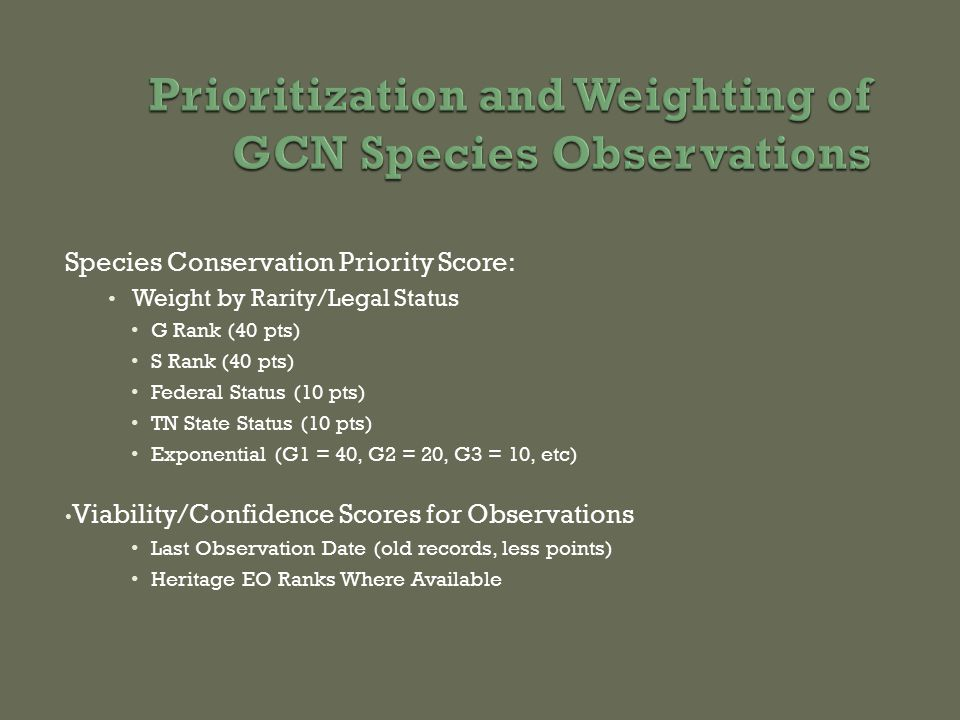 Species Conservation Priority Score: Weight by Rarity/Legal Status G Rank (40 pts) S Rank (40 pts) Federal Status (10 pts) TN State Status (10 pts) Exponential (G1 = 40, G2 = 20, G3 = 10, etc) Viability/Confidence Scores for Observations Last Observation Date (old records, less points) Heritage EO Ranks Where Available