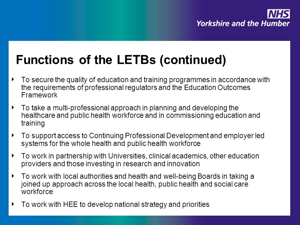 Functions of the LETBs (continued) ‣ To secure the quality of education and training programmes in accordance with the requirements of professional re
