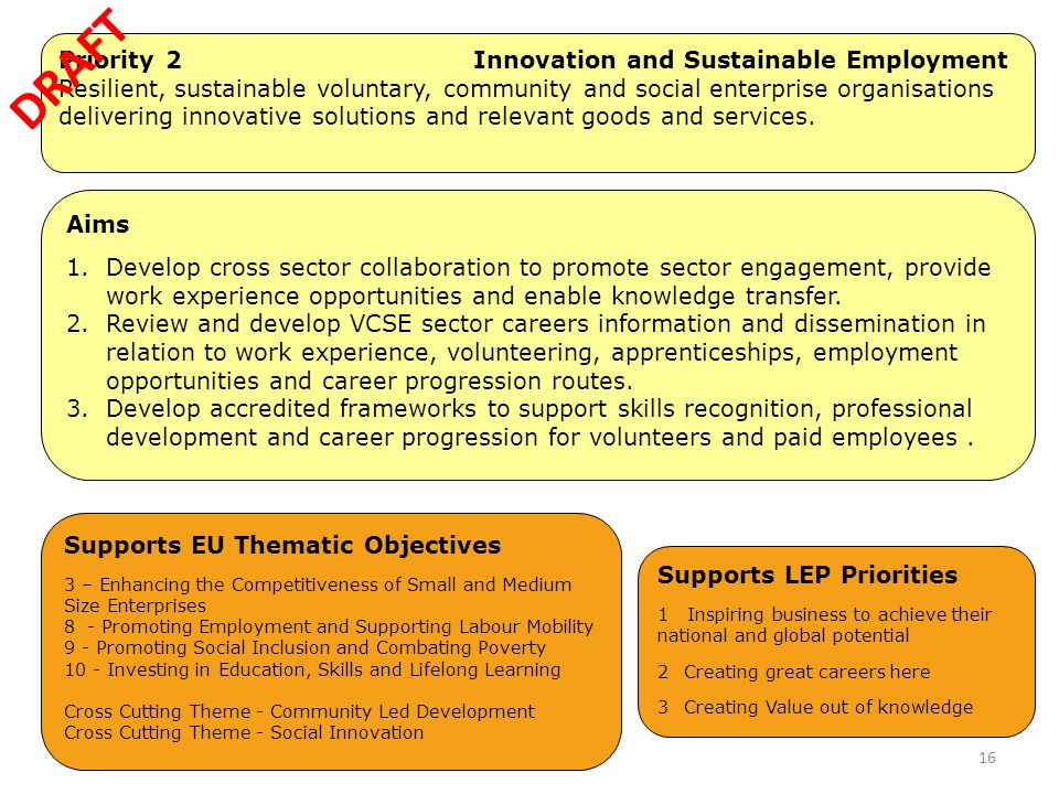 Priority 2 Innovation and Sustainable Employment Resilient, sustainable voluntary, community and social enterprise organisations delivering innovative