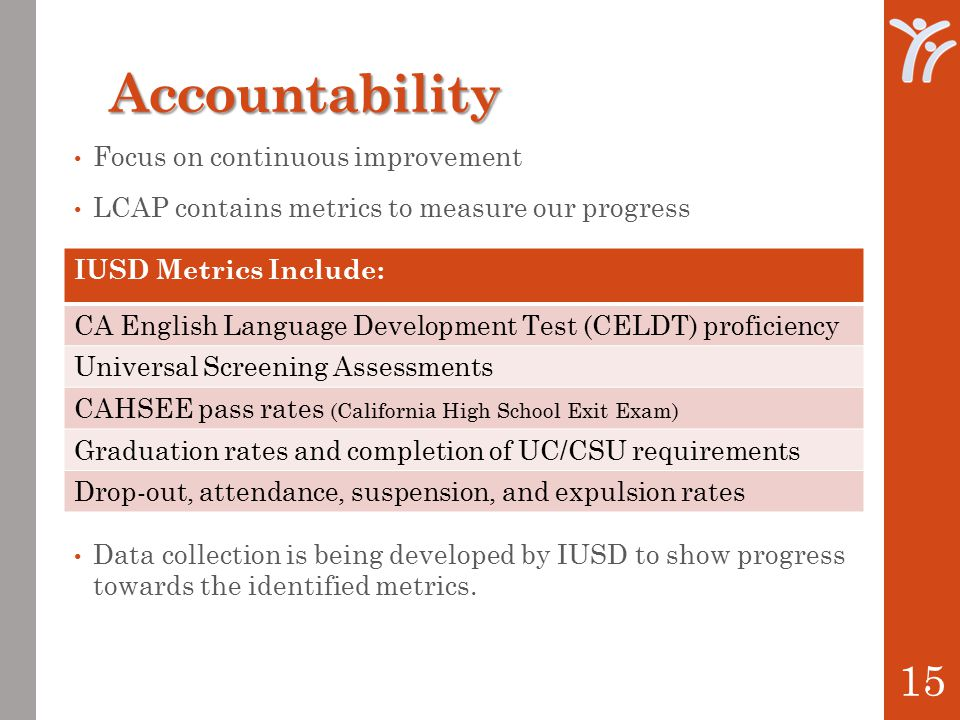 Accountability Focus on continuous improvement LCAP contains metrics to measure our progress Data collection is being developed by IUSD to show progress towards the identified metrics.